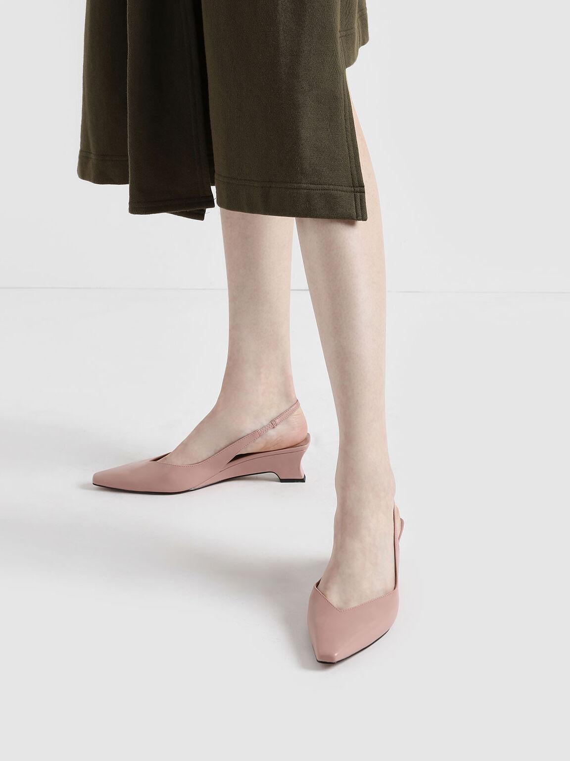 V-Cut Low Sculptural Heel Slingback Pumps, Nude, hi-res