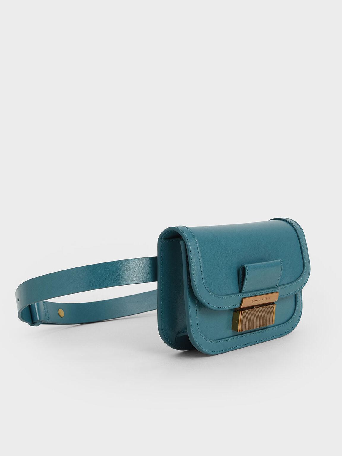 Metallic Push-Lock Front Flap Bag, Turquoise, hi-res