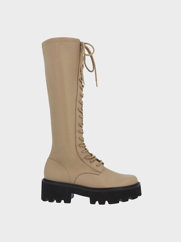 Commute Knee-High Boots, Taupe, hi-res