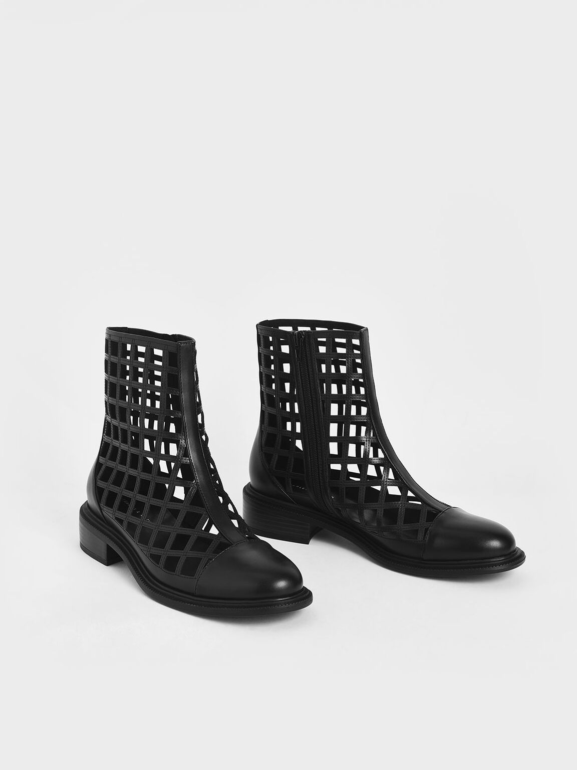 Caged Ankle Boots, Black, hi-res