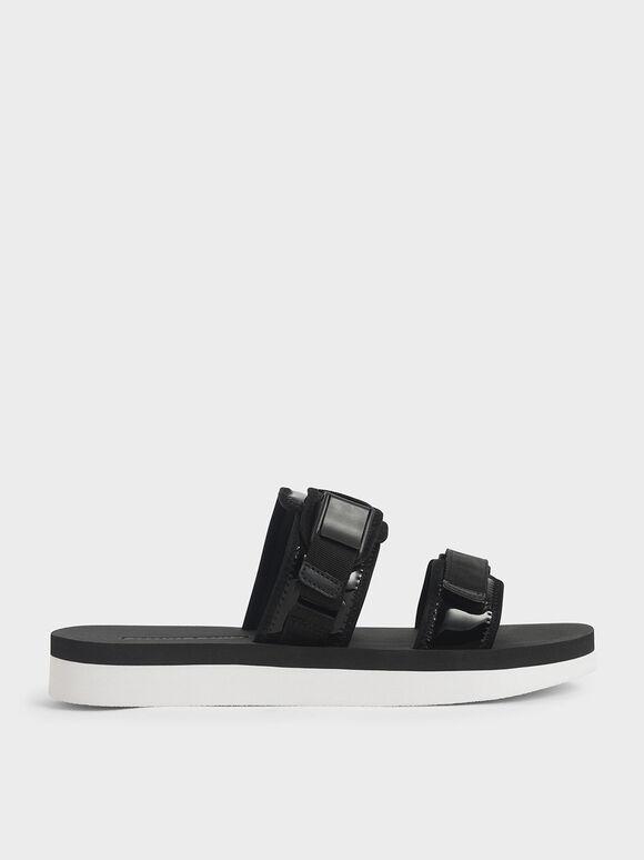 Velcro Strap Flatforms, Black, hi-res