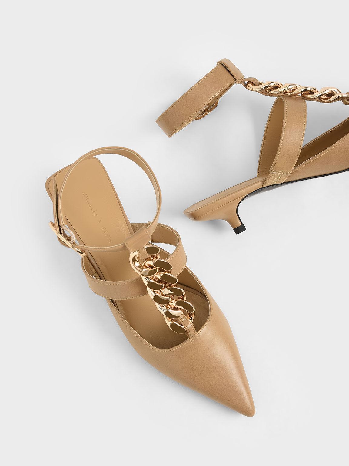 Chain Link Ankle Strap Court Shoes, Camel, hi-res