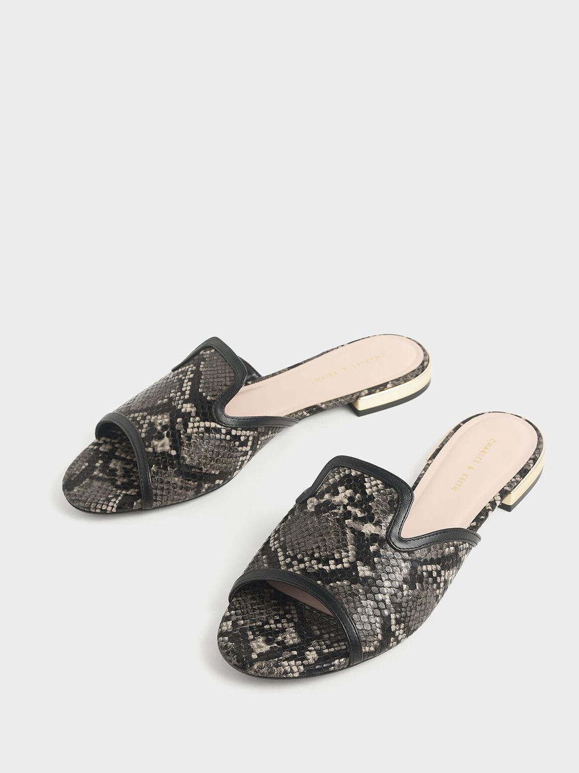 Snake Print Slide Sandals, Black, hi-res
