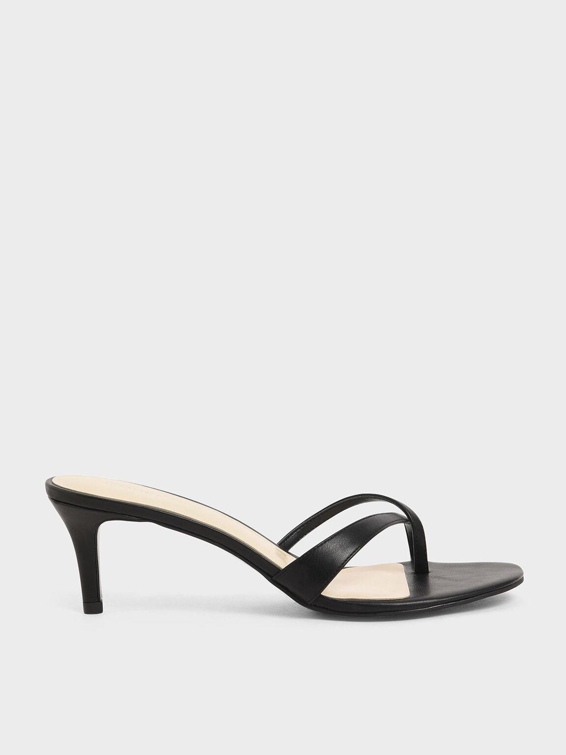 Toe Strap Heeled Sandals, Black, hi-res