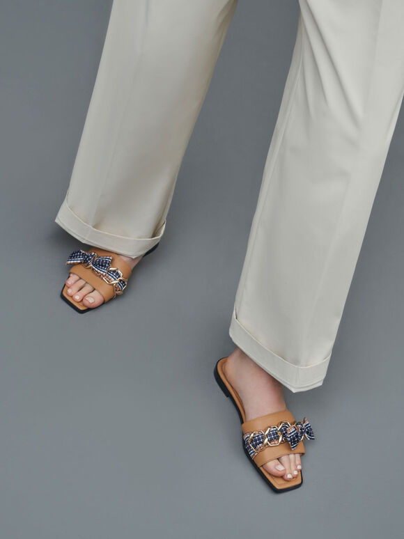 Printed Fabric Scarf Leather Slide Sandals, Caramel, hi-res