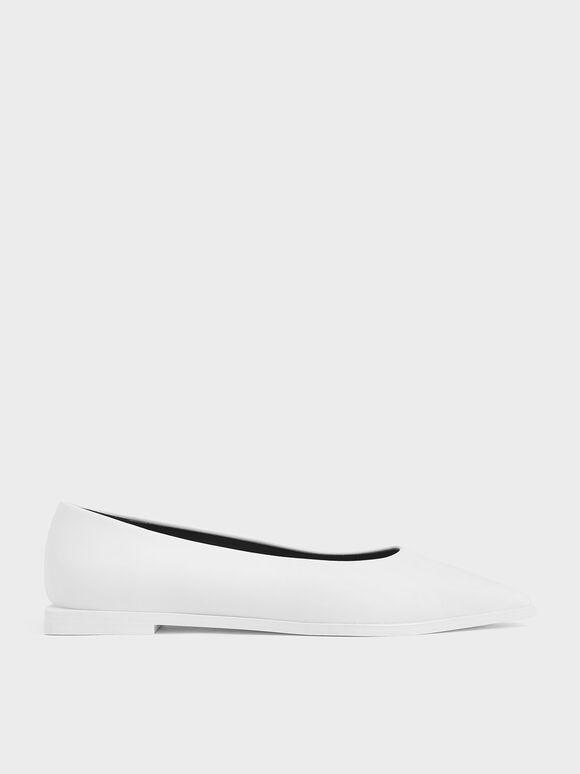 Pointed Toe Ballerina Flats, White, hi-res