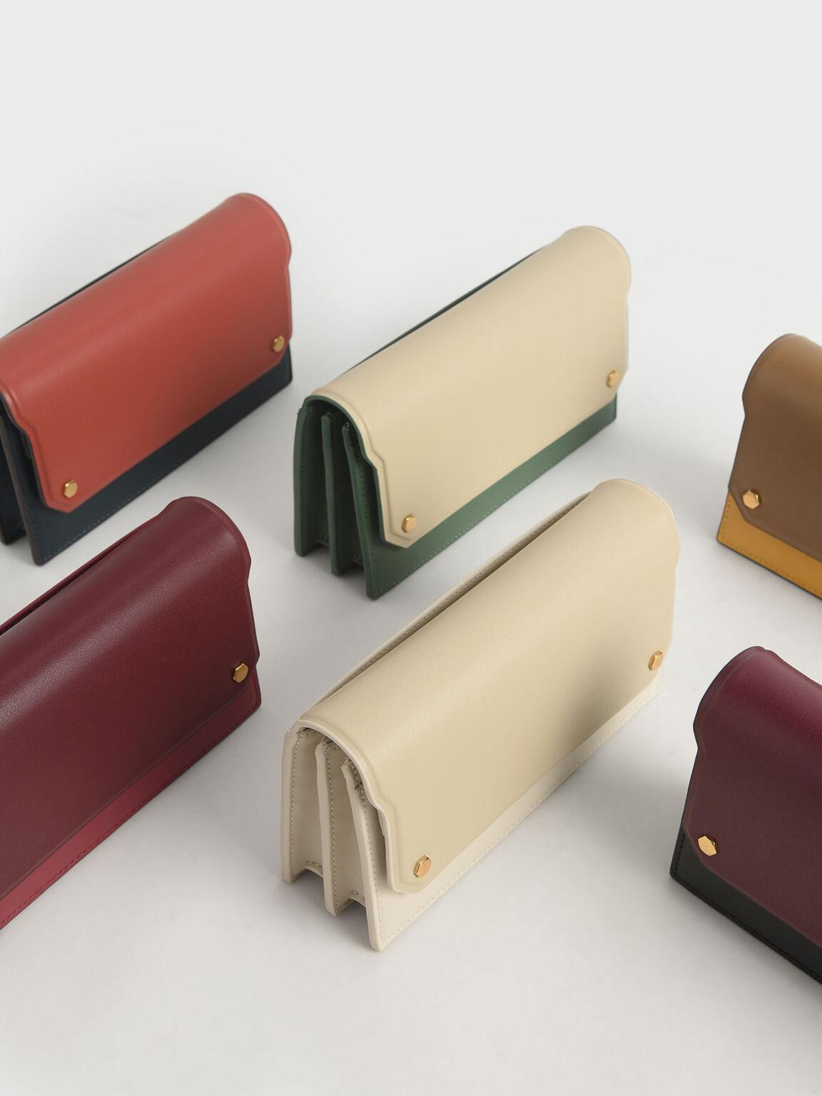 Two-Tone Mini Long Wallet, Yellow, hi-res