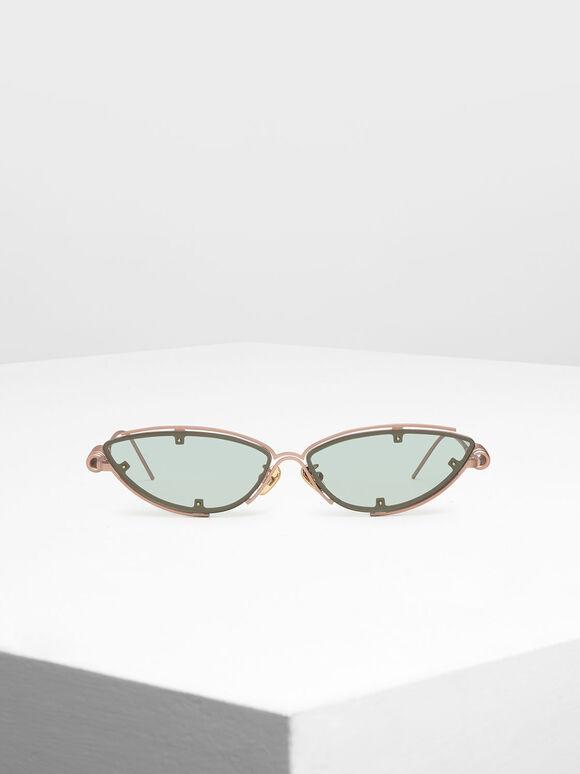 Double Frame Cat-Eye Sunglasses, Green, hi-res