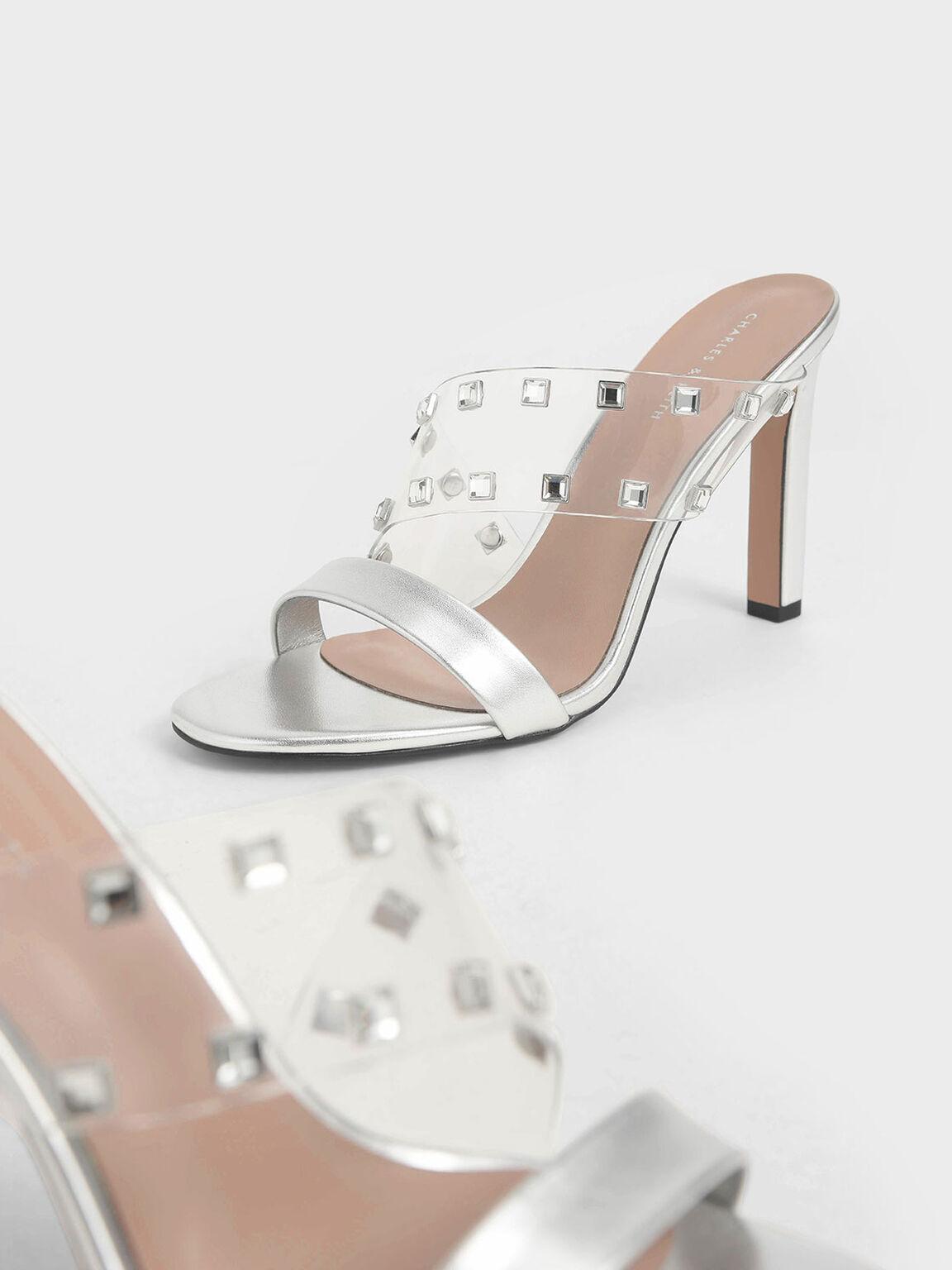 Gem Embellished Asymmetric Strap Mules, Silver, hi-res