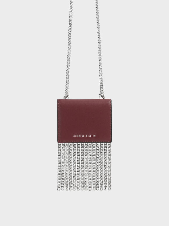 Chain Fringe Card Holder, Burgundy, hi-res