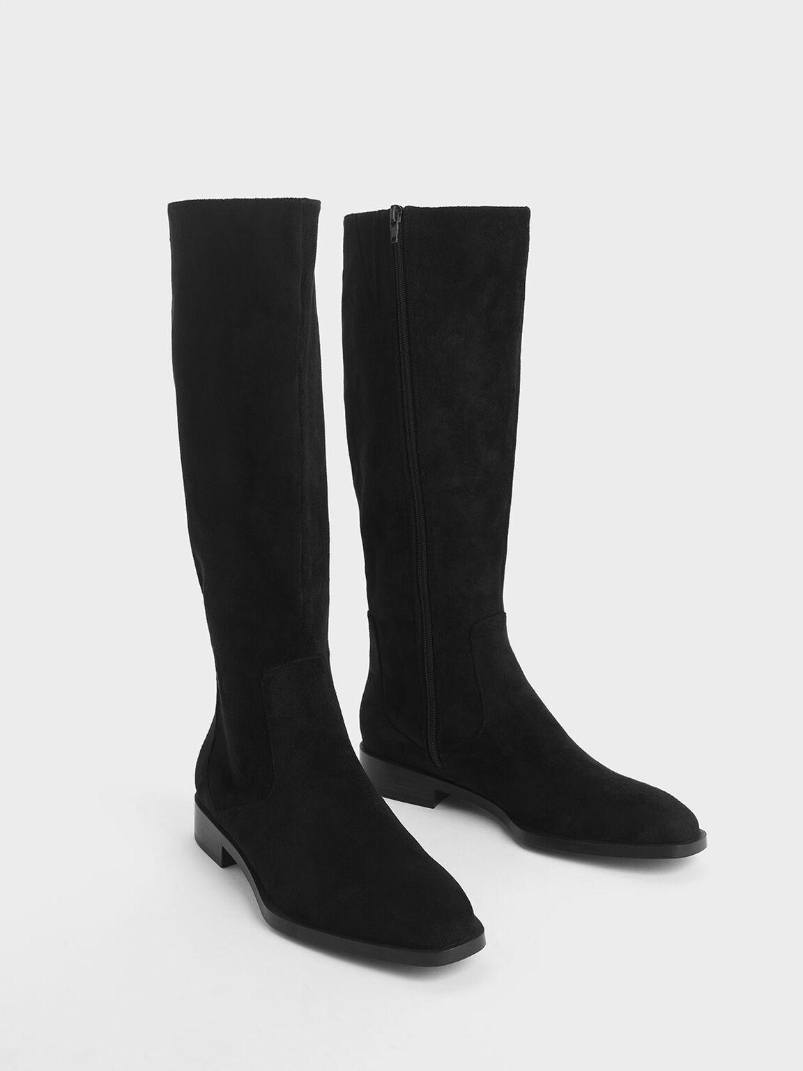 Zip-Up Knee High Flat Boots, Black Textured, hi-res
