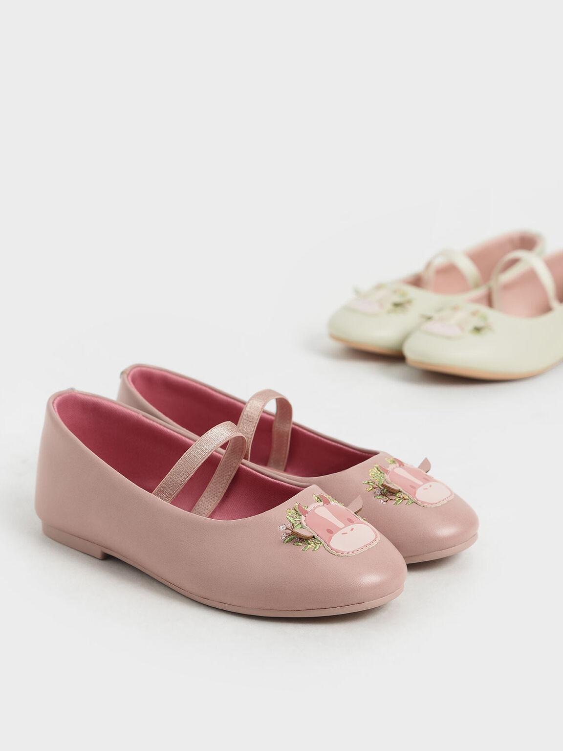 Girls' Cow Motif Ballerinas, Pink, hi-res