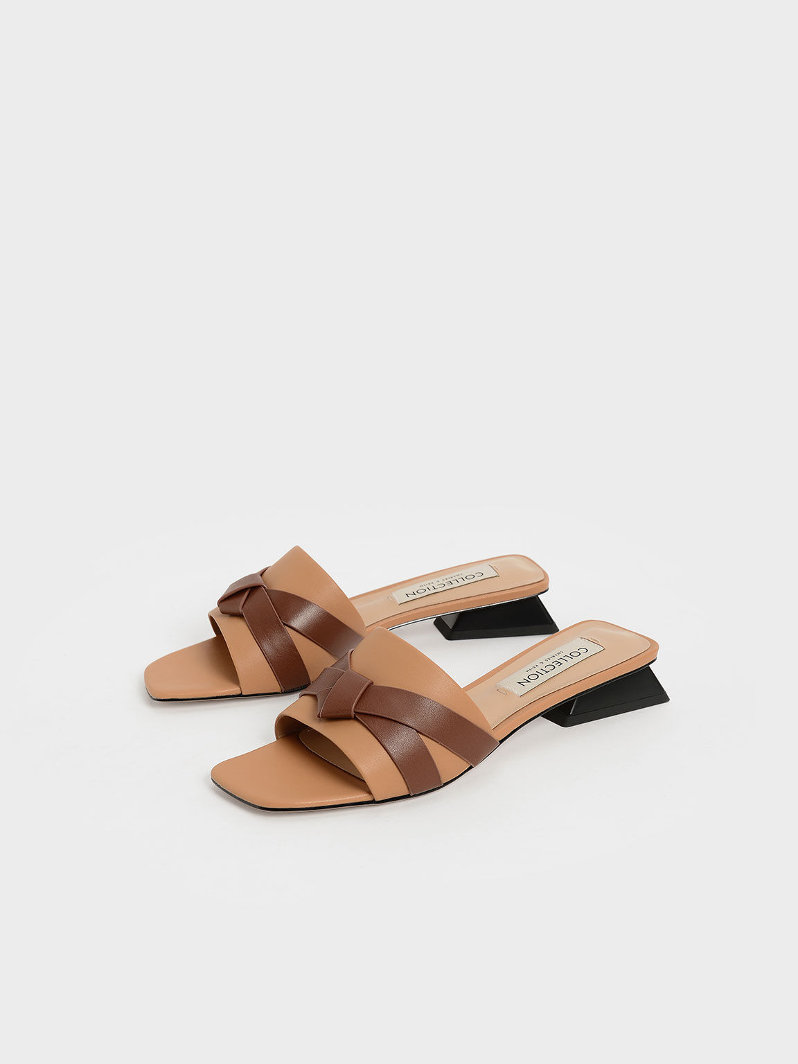 Leather Bow-Tie Trapeze Heel Mules, Caramel, hi-res