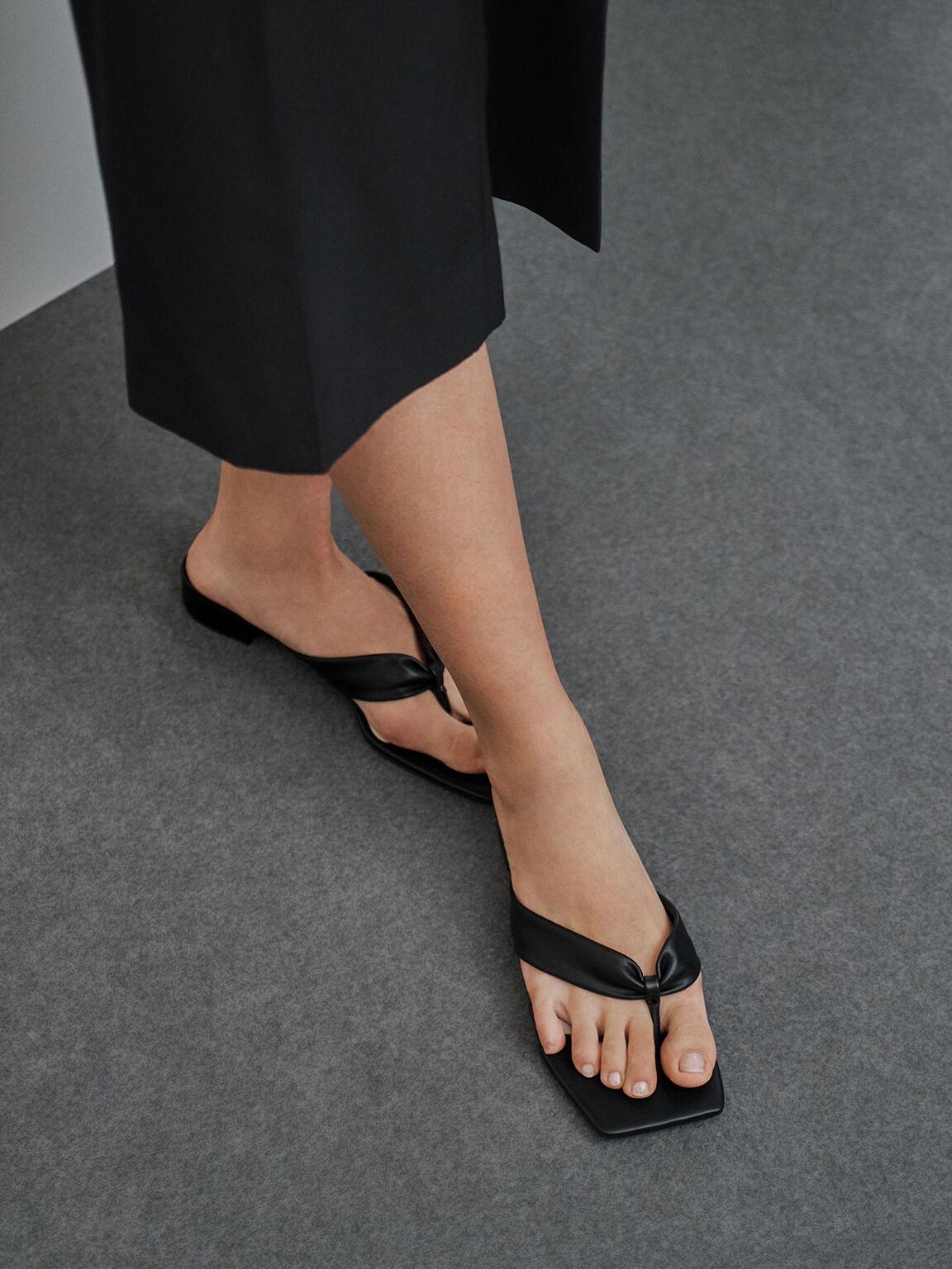 Puffy Strap Thong Sandals, Black, hi-res