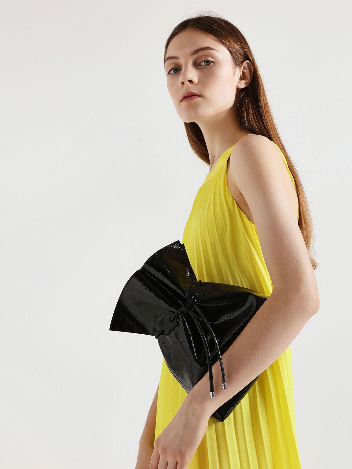 Wrinkled Patent Drawstring Bucket Bag, Black, hi-res