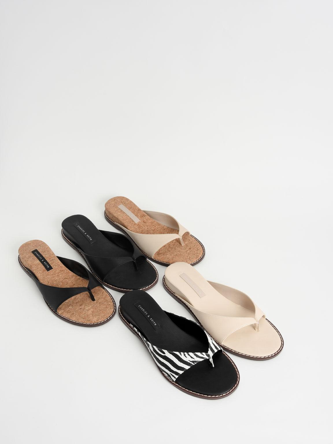 Stitch Trim Thong Sandals, White, hi-res