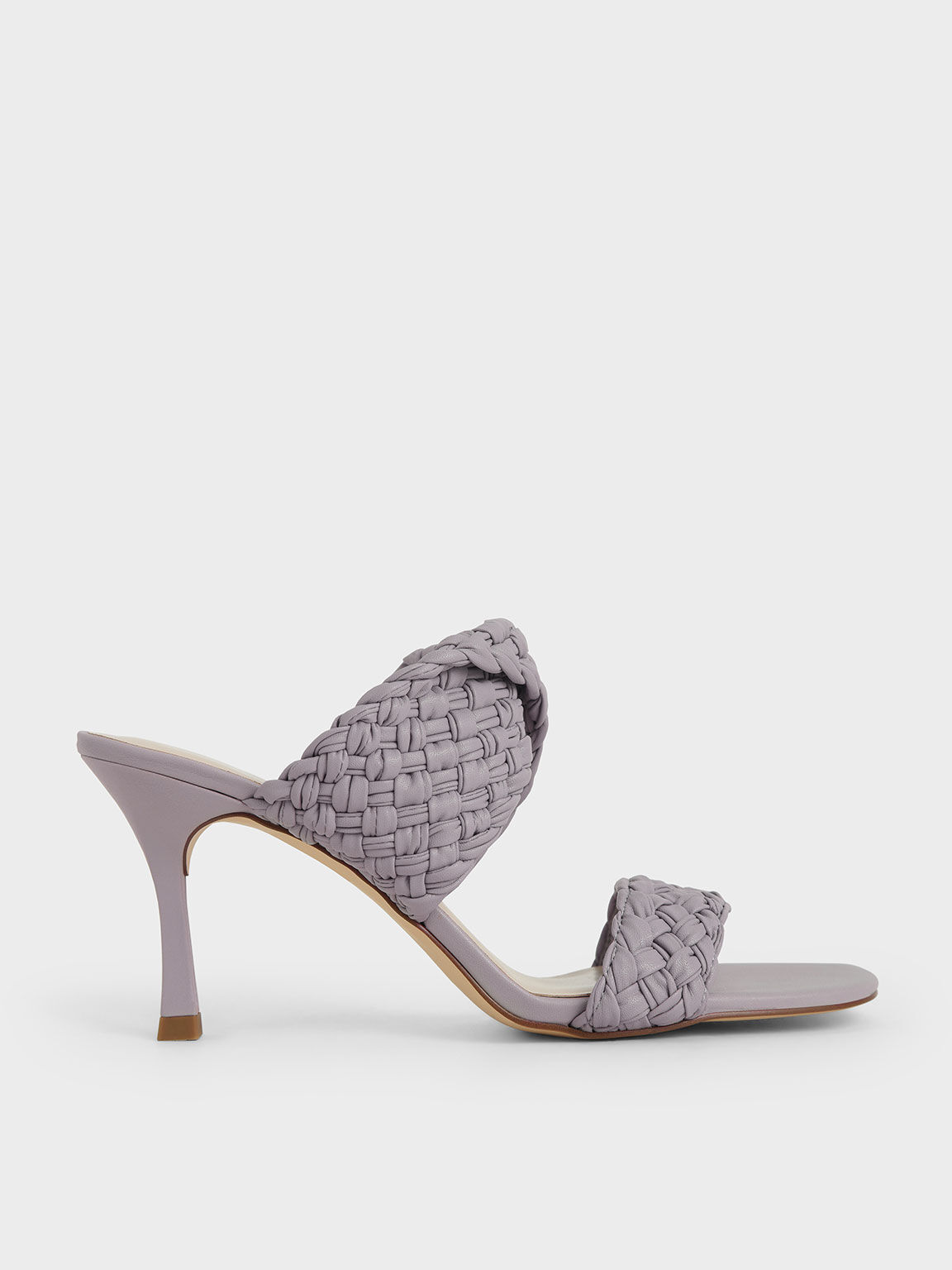 Double Strap Woven Heeled Mules, Lilac, hi-res