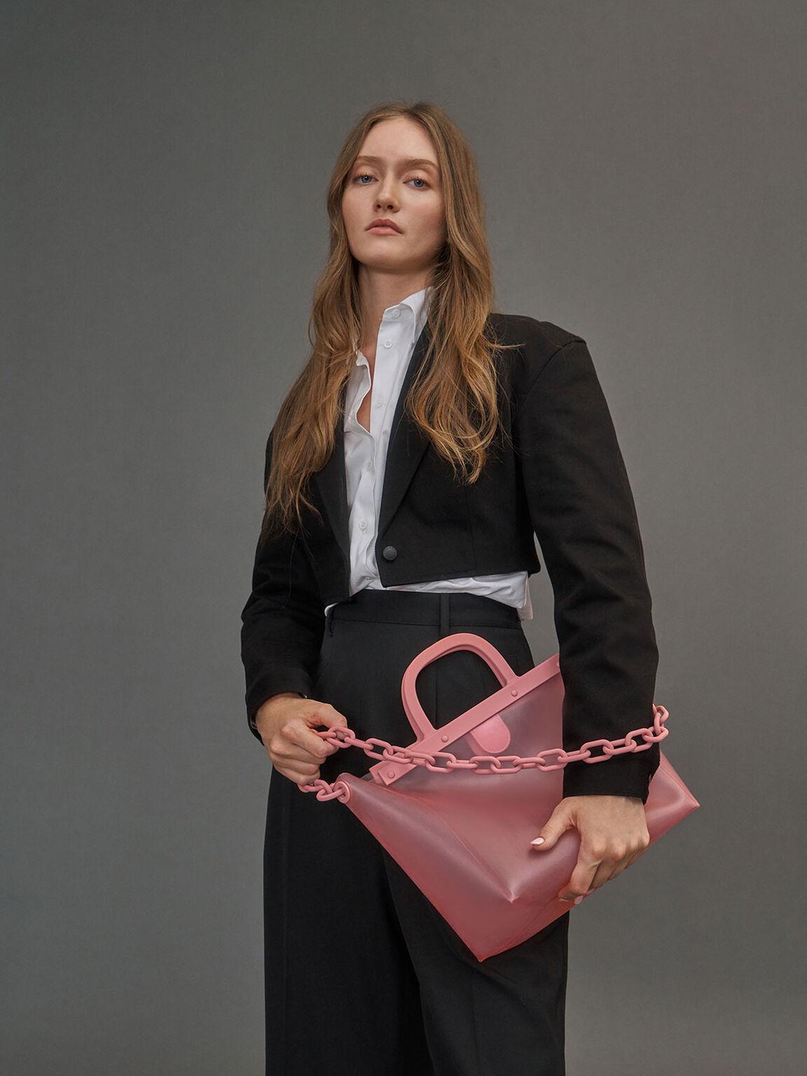 See-Through Tote Bag, Pink, hi-res