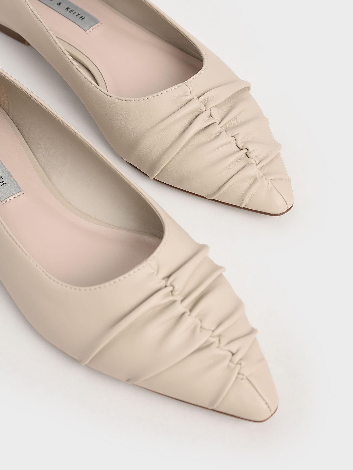 Ruched Ballet Pumps, Taupe, hi-res
