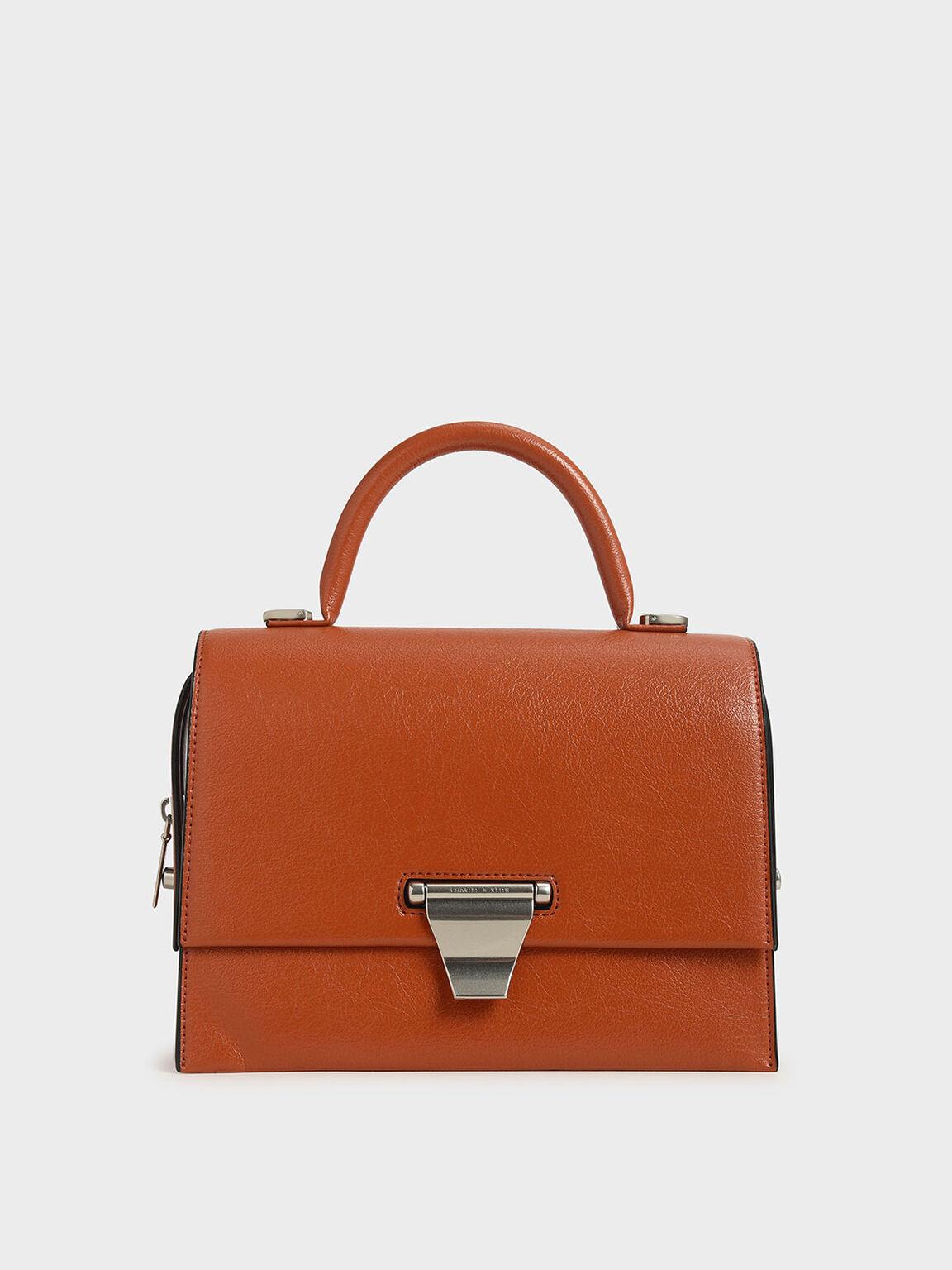 Metal Push-Lock Top Handle Bag, Orange, hi-res