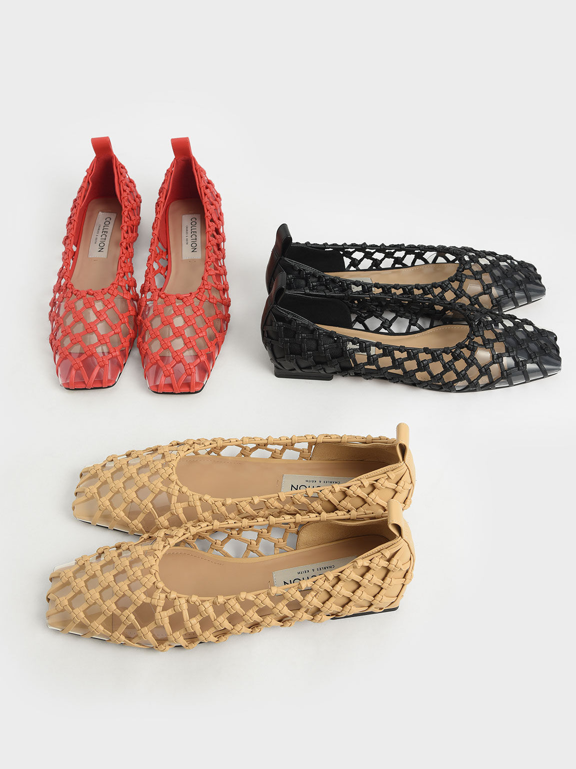Woven Caged Ballerina Flats charles & keith