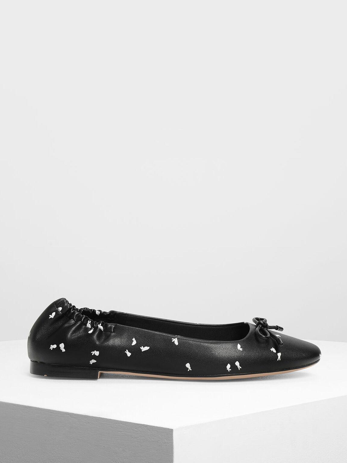 Bow Ballerina Flats, Black Textured, hi-res
