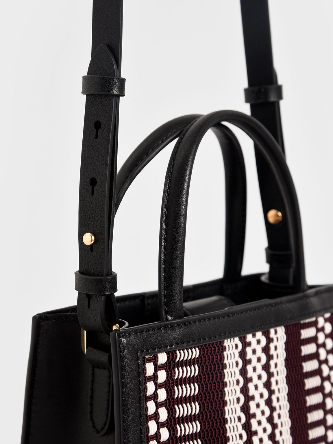 Woven Double Handle Tote Bag, Black, hi-res