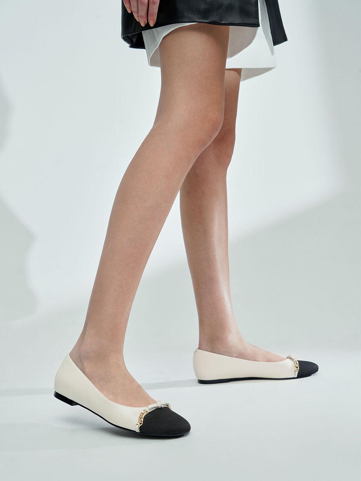 Grosgrain Chain-Link Ballerina Flats, Cream, hi-res