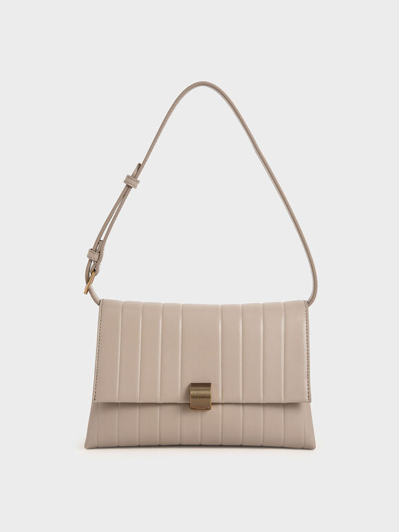 Panelled Crossbody Bag, Taupe, hi-res