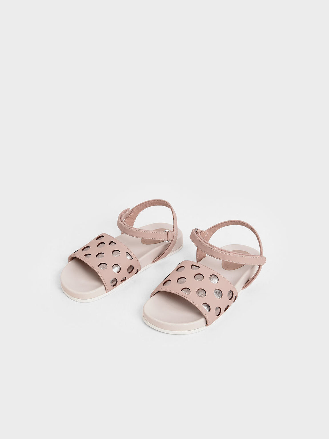 Girls' Two-Tone Laser-Cut Sandals, Nude, hi-res