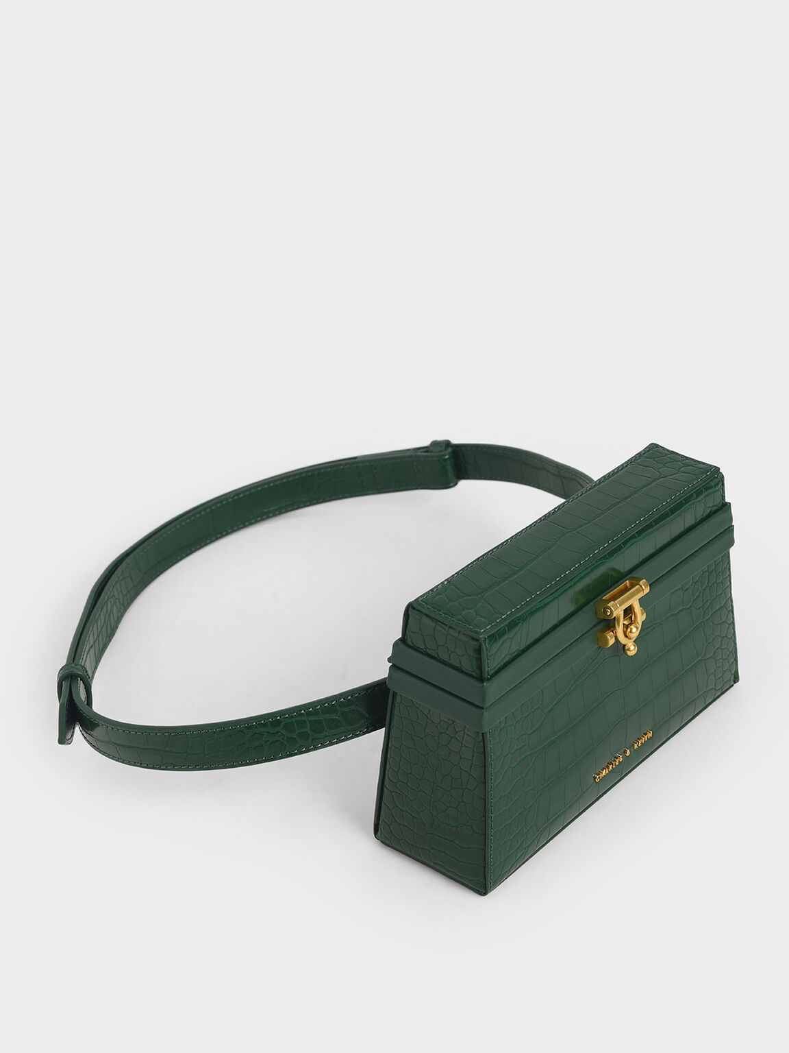 Croc-Effect Trapeze Belt Bag, Green, hi-res