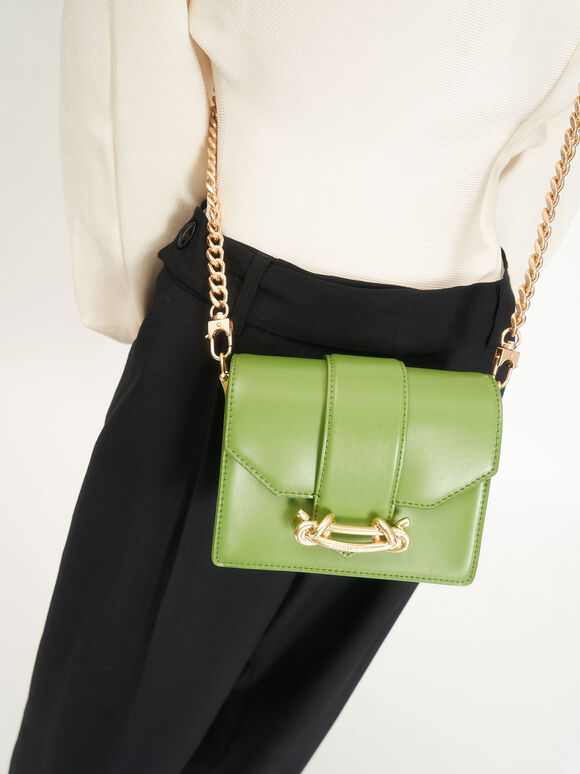 Metallic Buckle Crossbody Bag, Green, hi-res