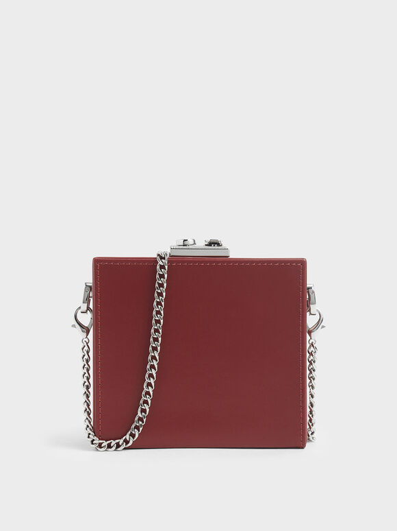 Boxed Leather Mini Square Pouch, Red, hi-res