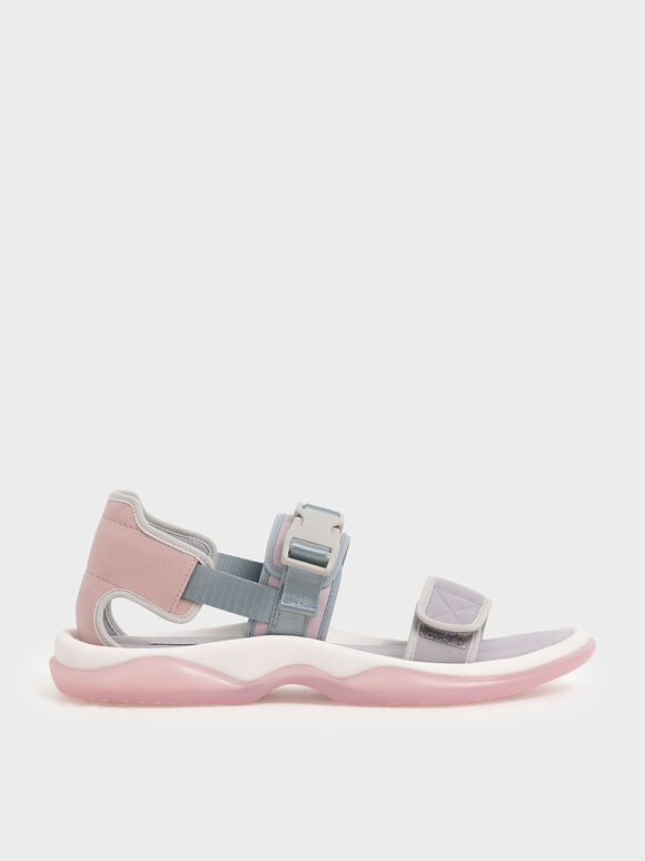 Strappy Chunky Sandals, Lilac, hi-res