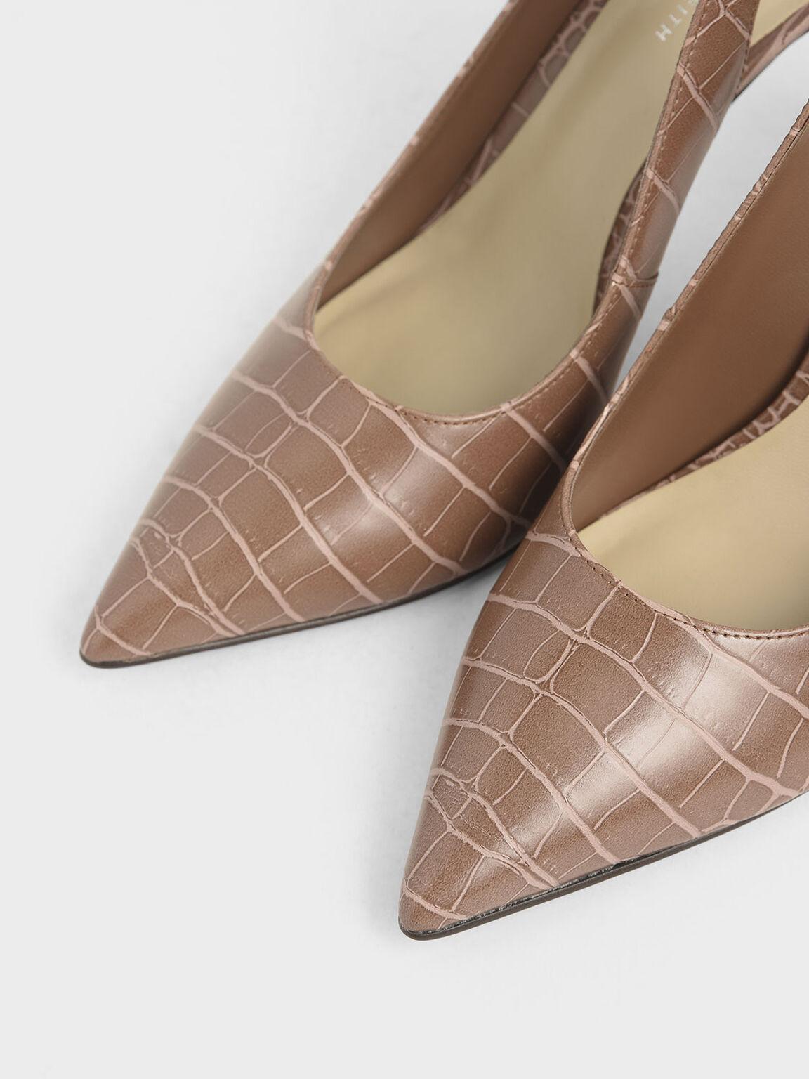 Croc-Effect Stiletto Slingback Pumps, Brown, hi-res