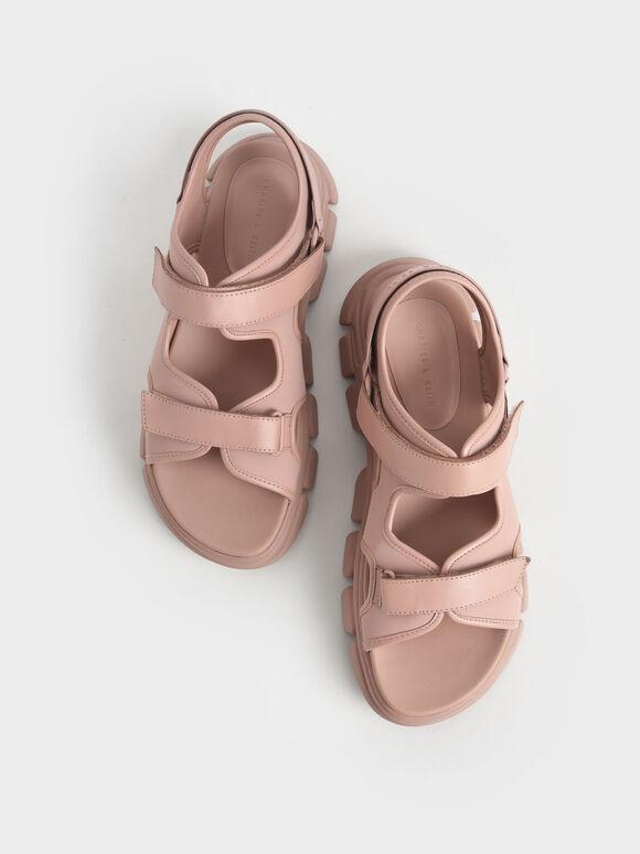 Chunky Sports Sandals, Beige, hi-res