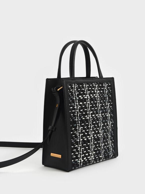 Woven Tweed Tote Bag, Black, hi-res
