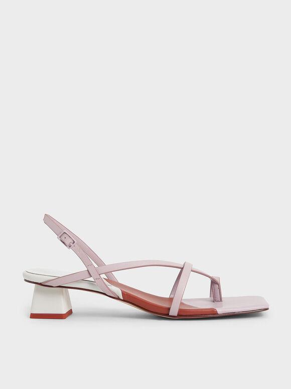 Strappy Slingback Sandals, Lilac, hi-res