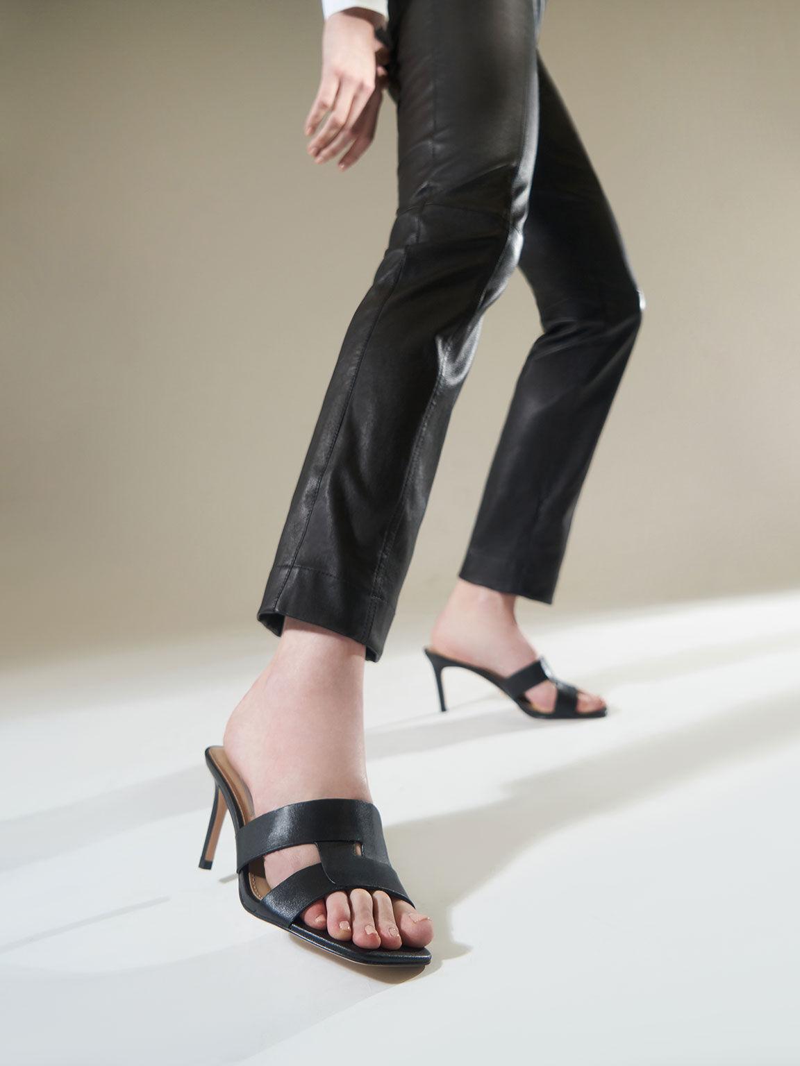 Leather Cut-Out Stiletto Mules, Black, hi-res