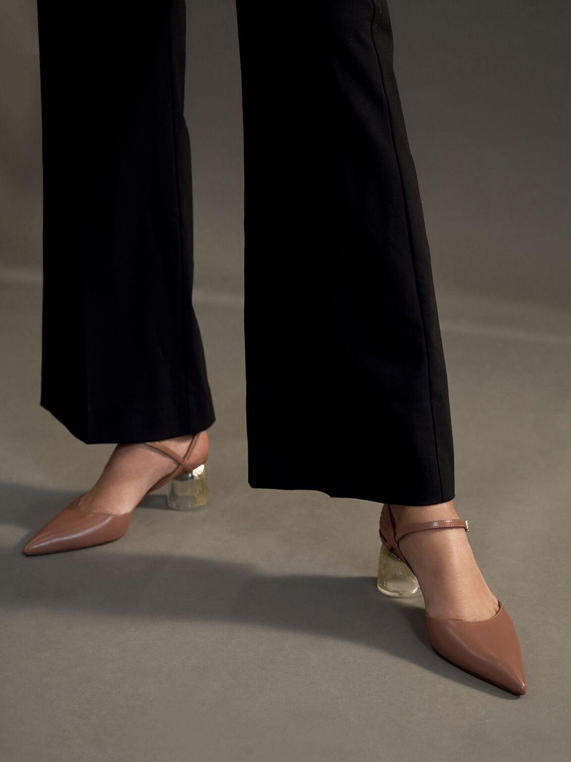 Sculptural Heel Ankle Strap Pumps, Tan, hi-res
