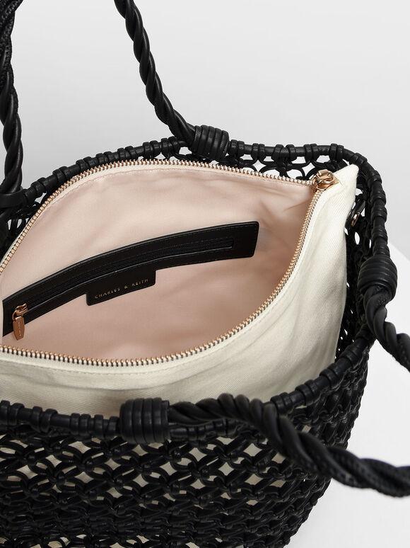 Knitted Tote Bag, Black, hi-res