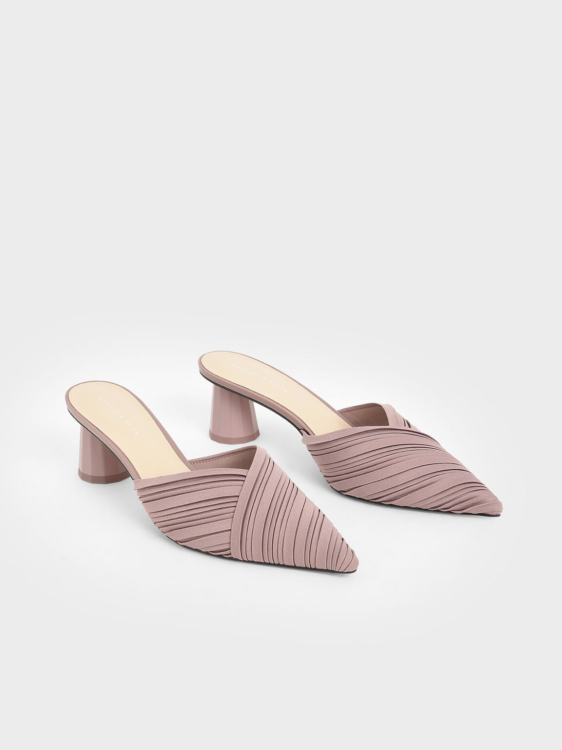 Pleated Pointed Toe Mules, Mauve, hi-res
