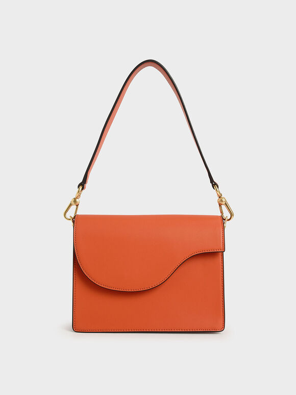 Angular Flap Shoulder Bag, Orange, hi-res