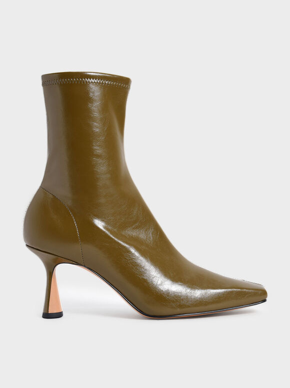 Sculptural Heel Ankle Boots, Olive, hi-res