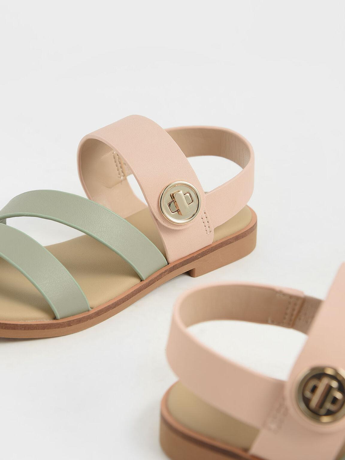 Girls' Metallic Buckle Sandals, Nude, hi-res