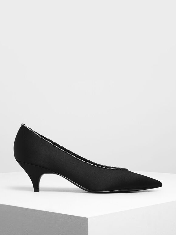 Gem Embellished Satin Kitten Heel Pumps, Black, hi-res