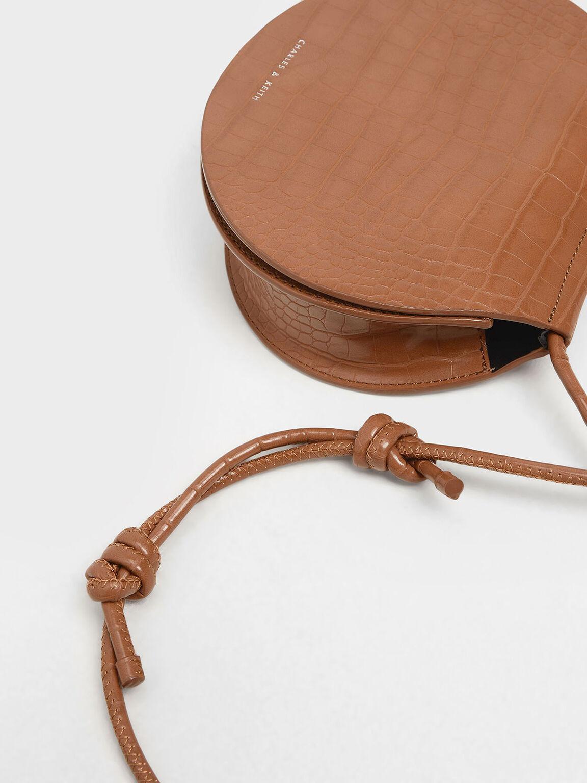 Semi Circle Croc-Effect Crossbody Bag, Tan, hi-res