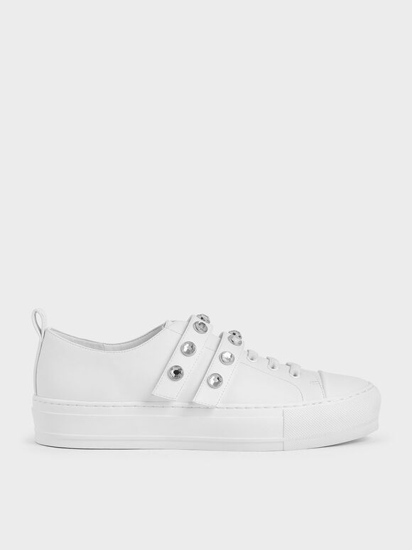 Gem-Embellished Platform Sneakers, White, hi-res