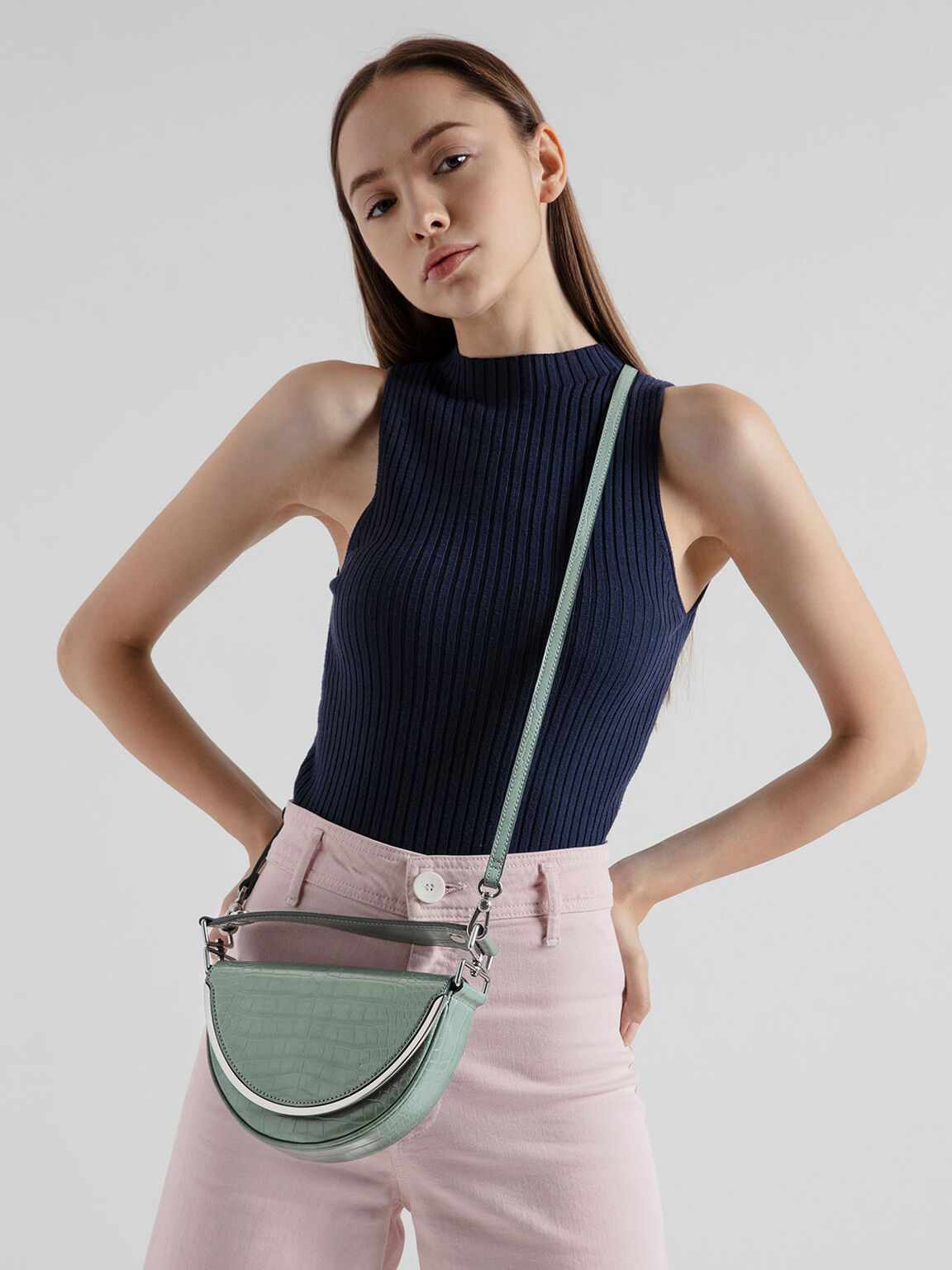 Croc-Effect Top Handle Semi-Circle Bag, Sage Green, hi-res