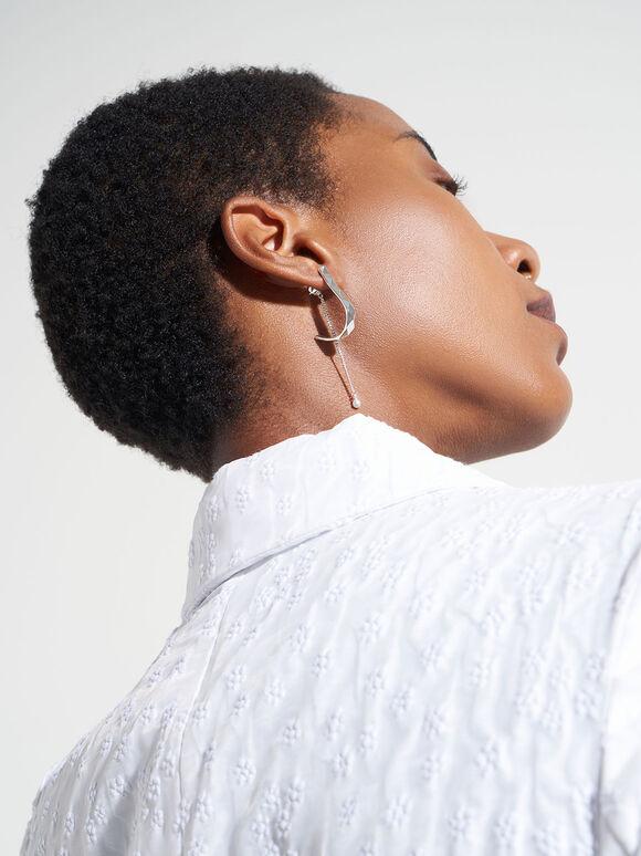 Geometric Pearl Drop Earrings, Silver, hi-res